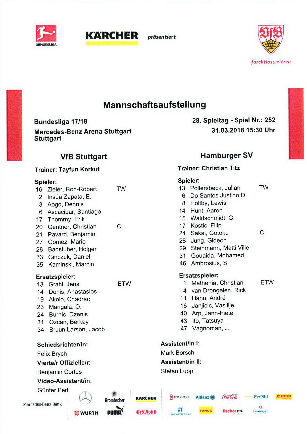 Vfb Stuttgart 1893 Vs Hamburger Sv Wwwsoke2de
