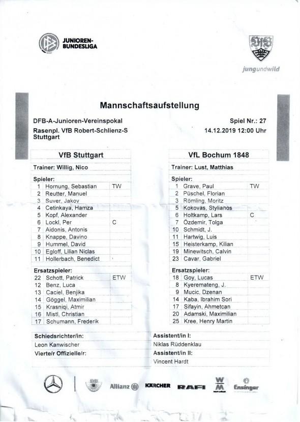 191214_Auftsellung_VfB_U19_Bochum_U19_DFB-Pokal